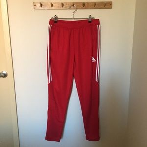 Red Adidas joggers